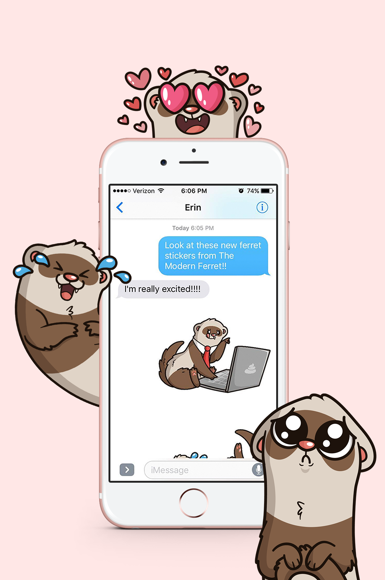 ferret emoji phone