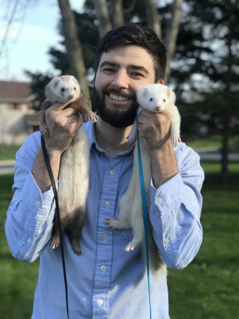 man holding ferrets with insulinoma