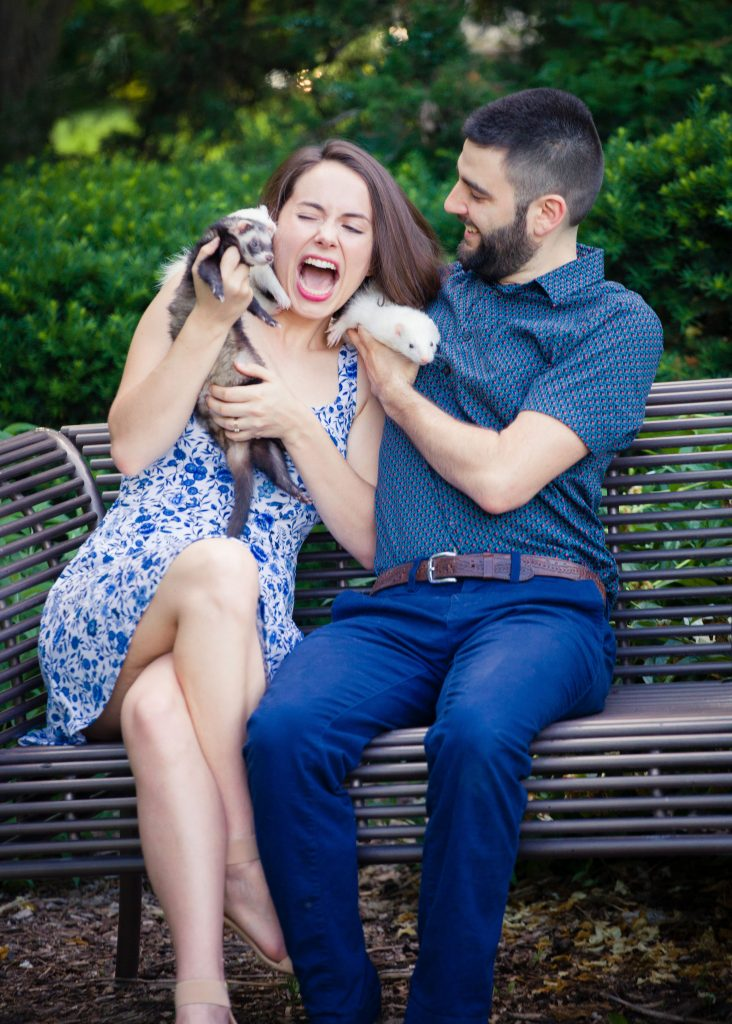 ferret engagement photos, long nails scratch funny